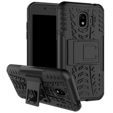 Black Galaxy J2 Pro (2018) Heavy Duty Hybrid Kickstand Case - 1