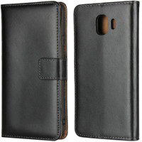 Black Samsung Galaxy J2 Pro Genuine Leather Business Wallet Case - 1