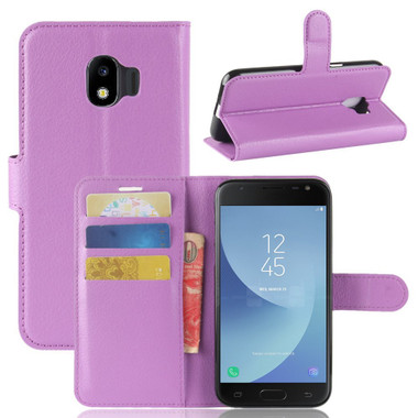 Purple Litchi Wallet Case Card Slots For Samsung Galaxy J2 Pro (2018)