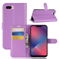 Purple Premium Litchi Leather Wallet Stand Case for Oppo R11s