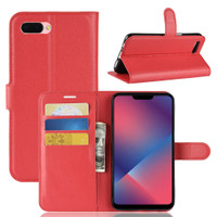 Red Premium Litchi Leather Wallet Stand Case for Oppo R11s