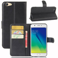 Black Premium Litchi Leather Wallet Stand Case for Oppo A57