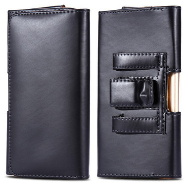 Black iPhone 7 / 8 Leather Belt Clip Pouch Case For Tradesman Workman - 1