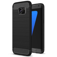 Black Samsung Galaxy S7 Edge Slim Defender Carbon Fibre Case Cover - 1