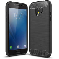 Black Samsung Galaxy J2 Pro 2018 Slim Armor Carbon Fibre Case - 1