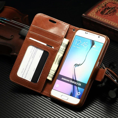 Samsung Galaxy S8 Plus Luxury Vintage Brown Wallet Stand Case - 1