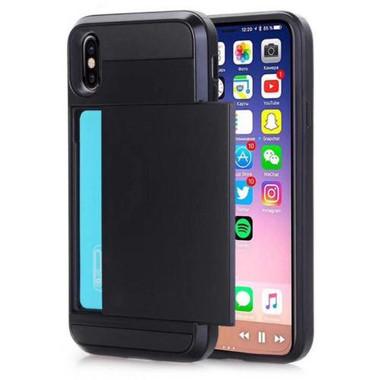 Black Slide Card Pocket Armor Case For Apple iPhone XR