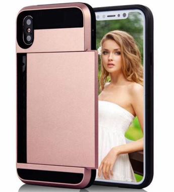 Rose Gold Shock Proof Slide Card Armor Case For Apple iPhone XR