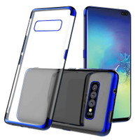 Blue Plated Clear Ultra Slim Soft Gel Case For Samsung Galaxy S10+ Plus