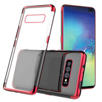 Red Plated Clear Ultra Slim Soft Gel Case For Samsung Galaxy S10+ Plus