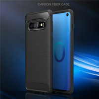 Black Slim Armor Carbon Fibre Gel Case For Samsung Galaxy S10+ Plus - 1