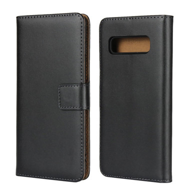 Black Genuine Leather Business Wallet Case For Galaxy S10+ Plus - 1