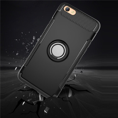 Black Oppo A73 / F5 Magnetic 360 Degree Ring Stand Shock Proof Case