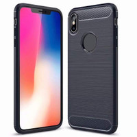 Black iPhone X / XS Slim Flexible Shock Proof Carbon Fibre Case - 1