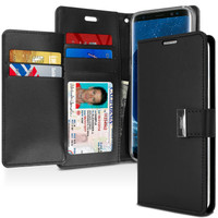 Black Galaxy S9 Plus Genuine Mercury Rich Diary Wallet Case Cover - 1