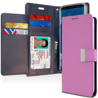 Purple Stylish Mercury Rich Diary Wallet Case For Galaxy S9 Plus - 1