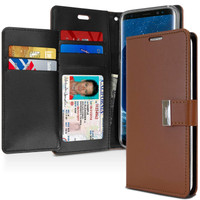 Brown Genuine Mercury Rich Diary Quality Wallet Case For Galaxy S9 - 1