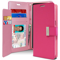 Hot Pink Genuine Mercury Rich Diary Premium Wallet Case For Galaxy S8 - 1