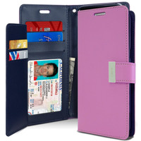 Purple Genuine Mercury Rich Diary Premium Wallet Case For Galaxy S8 - 1