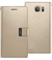 Gold Genuine Mercury Rich Diary Quality Wallet Case For Galaxy S6 Edge - 1
