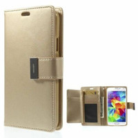 Gold Genuine Mercury Rich Diary Stylish Wallet Case For Galaxy S5 - 1