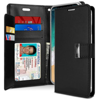 Black Genuine Mercury Rich Diary Quality Wallet Case For iPhone XS MAX - 1
