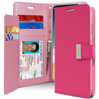 Hot Pink Genuine Mercury Rich Diary Quality Wallet Case For iPhone XR - 1