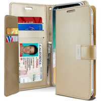 Gold Genuine Mercury Rich Diary Quality Wallet Case For iPhone XR - 1