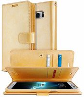 Gold Genuine Mercury Mansoor Diary Wallet Flip Case For Galaxy S8 - 1