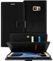 Black Genuine Mercury Mansoor Diary Wallet Case For Galaxy S7 Edge - 1