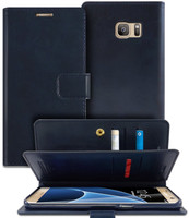 Navy Genuine Mercury Mansoor Diary Wallet Case For Galaxy S7 Edge - 1