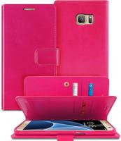 Hot Pink Genuine Mercury Mansoor Diary Wallet Flip Case For Galaxy S6 - 1
