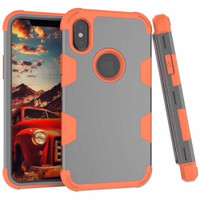 Tradies Orange / Grey Hybrid Robot Defender Case For iPhone XS Max - 1