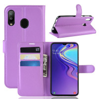 Purple Stylish Litchi Texture Wallet Card Case For Samsung Galaxy A50