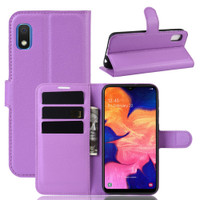 Purple Litchi Textured Wallet Credit Card Case For Samsung Galaxy A10