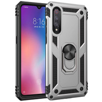 Silver Galaxy A70 Slim Armor 360 Rotating Metal Ring Stand Case Cover - 1