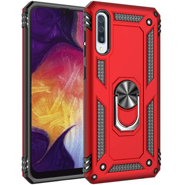 Red 360 Rotating Metal Stand Slim Armor Case Cover For Galaxy A70 - 1
