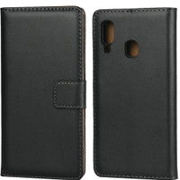 Samsung Galaxy A30 Genuine Leather Business Wallet Smart Case - Black - 1