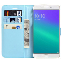 Oppo R9S Plus Litchi Wallet Quality Textured Wallet Case - Aqua - 1