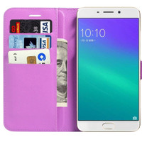 Oppo R9S Plus Litchi Wallet Stylish Textured Wallet Case - Purple - 1