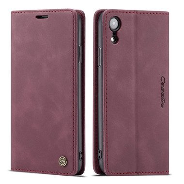 Premium iPhone XS CaseMe Soft Matte Wallet Case - Wine - 1
