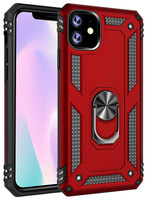 Red iPhone 11 Slim Armor 360 Rotating Metal Ring Stand Case Cover - 1