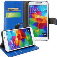 Blue Crazy Horse Textured Leather Wallet for Samsung Galaxy S5 - 1
