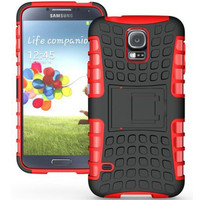 Red Rubber Impact Hard Case Cover Kickstand for Samsung Galaxy S5 - 1