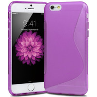 "Purple S Line Apple iPhone 6 / 6S Plus 5.5"" Cover TPU Gel Silicone Case Cover"