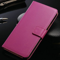 Stylish Hot Pink Samsung Galaxy Note 4 Genuine Leather Wallet Case - 1