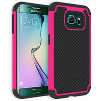 Hot Pink Shock-Proof Defender Heavy Duty Case Cover For Samsung Galaxy S6