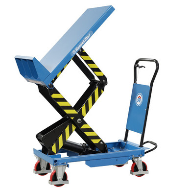 Tilting scissor lift table