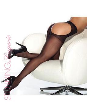 Sheer Thong Back Black Pantyhose   Stunning Lingerie