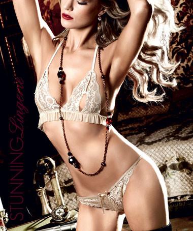 Baci Lingerie Champagne Lace Frill Bikini Set | Stunning Lingerie